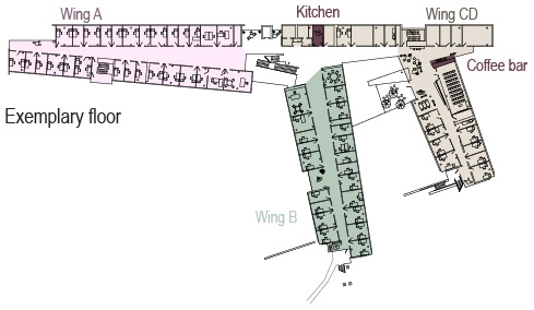 Sample floor plan of the Institute with kitchen and coffee bar