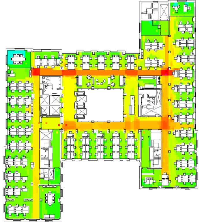 Figure 2: Typical floor of a London Media Agency with naturally occurring separations and team areas