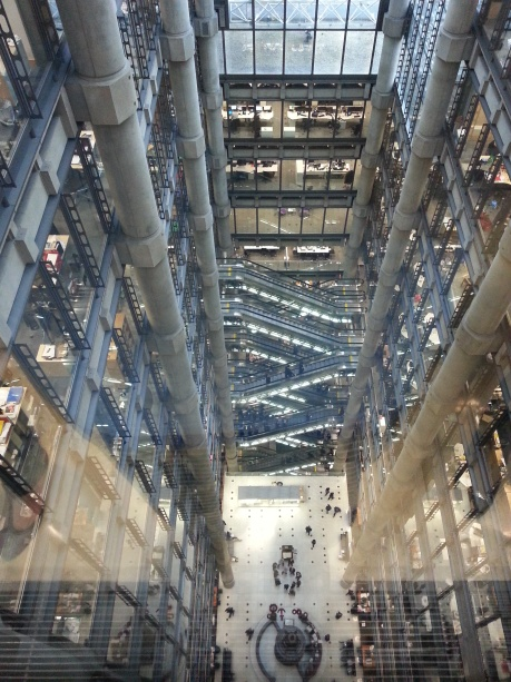 View from the top floor down into the atrium at Lloyds