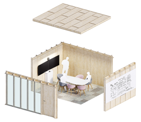Modular small room and spatial accessory system 'Jack'